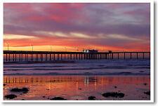 Sunset -  Ocean Pier Travel Art Print Photo POSTER