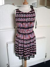 Black/Pink Floral  Size 6 Shift dress Pleated Bust Details BNWT £15 tag Lined