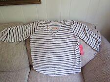 Ladies Tovia Blue White Stripe Chiffon Top Size Medium NWT