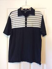 Black And White Striped Golf Shirt By GNW - Size Medium Short Sleeve Polo Shirt