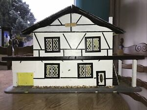 Vintage Handmade Cottage Style Doll House With Balcony Garage