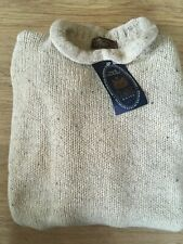 Traditional 100% Wool Silk Mix Curl Roll Neck Beige Jumper Knit Made in England
