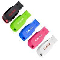 SanDisk Cruzer Blade USB Flash Drive Stick 16GB 32GB 64GB 128GB Blue Pink Green