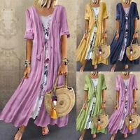 Womens Vintage Boho Kaftan Dress Print Lace Two-piece 3/4 Sleeve Maxi Dress