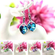 20pcs Wholesale Lots Women Heart Earrings Crystal Dangle Drop Silver Earrings