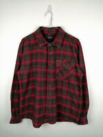 Vintage Mens Flannel Shirt Smiths Workwear Size L Red Check 100% Cotton Button