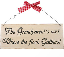The Grandparent's Nest Hanging Sign - Wooden Shabby Chic Novelty Family Plaque