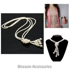 K190 Long Chain Pearl Beading Knot Women's Costume Beads Necklace 1920s Flapper