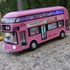 Bus Car Model 1/48 Tour London Double Decker Diecast w/light&sound Pink Toy Gift