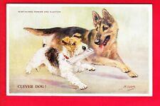Postcard - WIRE-HAIRED TERRIER & ALSATIAN - Clever Dog - MABEL GEAR [Valentine]