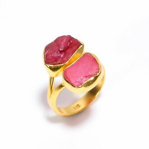 925 Sterling Silver Gold Plated Ring Size US 8, Ruby Gemstone Jewelry RSGR341