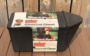 Vintage Weber Grill Charcoal Chest Storage Bucket Bin