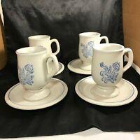 Set of 4 PFALTZGRAFF YORKTOWNE Tankard Cups Saucers 8pc Total