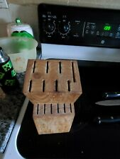 New listing wooden knife holder, used, holds 14 knives, brown,