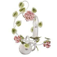 Applique florale rustique en métal et porcelaine à 1 lampe en forme de bougie