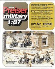 Preiser Unpainted German Reich Bicycle Unit 1939-45, 6 Figs/Bikes 1/87 16596 ST
