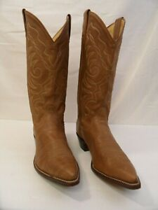 Sanders Light Brown Leather Cowboy Western Boots Women's Size 6.5 B