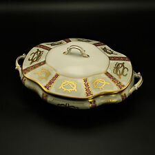 Faberge Small Covered Casserole  Gold, Enamel & Jeweled Limoges Porcelain 24k