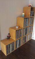 Vinyl Record Album LP Album Storage Cube Stackable Bookcase, Natural FREE SHIP