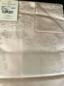 $500 Yves Delorme F/Q Duvet Cover Journey Pink Jacquard Floral Cotton Sateen New
