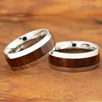 8mm Koa Wood Ring Stainless Steel Wedding Ring Oval SLR6105