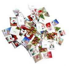 50 Pezzi Stampati Francobolli Di Natale Forma Legno Bottoni Per Cucito Abiti