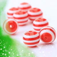 50 Red White Striped Acrylic Round Spacer Loose Beads Jewelry Craft DIY 10mm