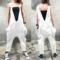 Size Women Strappy Playsuit Overalls Bib Cargo Pants Oversize Dungaree Jumpsuits