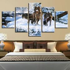 Snow Wolf Family Animal 5 Pc Canvas Wall Art Picture Poster Home Decor
