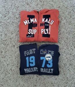 NWT H&M Boys Lot of 2 Hooded Sweatshirts w/ Warm Lining - Blue & Orange Sz 4-6 Y