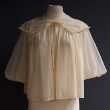 Vtg Vanity Fair Nude Pink Sheer Nylon Negligee Lingerie Bed Jacket Puff Sleeve M