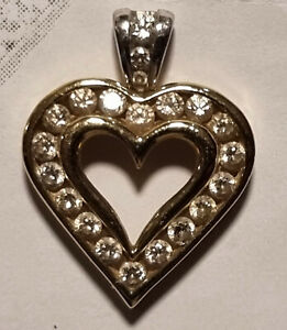 Heart pendant, 10kt Yellow and White Gold, .50 carat total diamond