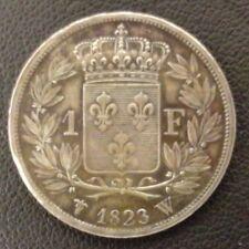 FRANCE LOUIS XVIII 1 FRANC BUSTE NU 1823 W LILLE