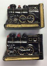 Vintage Japan Black ceramic  Train Locomotive Bookends Desk Set of 2