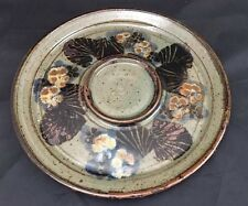 Mary Humphrey Original Stoneware Pottery Round Serving Tray Floral Design Signed