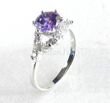 Women Lady Size O Q Ring White Gold Plated Clear Lilac Simulated Diamond Xmas UK
