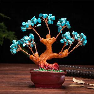 Stunning Feng Shui Gemstone Quartz Bonsai Money Tree + FREE GLASS FIGURINE GIFT