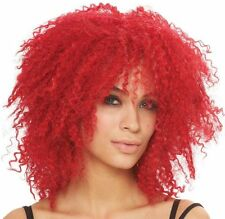 ADULT 80'S HOT RED FRIZZY HAIR COSTUME WIG PUNK ROCKER POP STAR RIHANNA COOLNESS