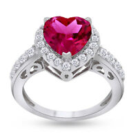 3.00 Carat Ruby & Lab Created White Sapphire Promise Ring