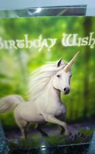 Anne Stokes Greetings Card with Envelope -  Birthday Wishes Unicorn