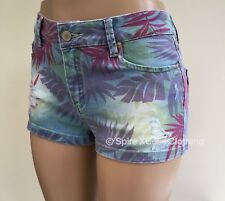 NEW South Blue Purple Pink Tropical Print Denim Hotpants Shorts Size 10