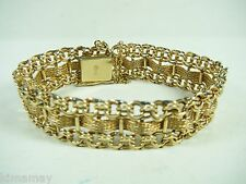 "VTG 11/16"" WIDE 1950'S  3 ROW LINK & MESH 12K G F CHARM BRACELET  BY AMERICAN"