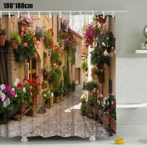 NEW Waterproof Shower Curtain Nature Scene 3D Flowers Print Home Bathroom Decor