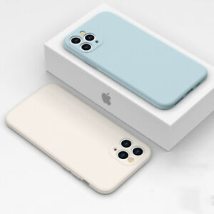 For iPhone 11 12 Pro Max XR XS X 8 7 Colorful Liquid Silicone Square Case Cover