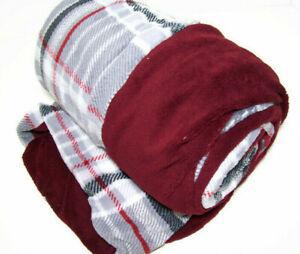 Biddeford Heated Electric MicroPlush Reversible Wine Red Plaid Throw Blanket