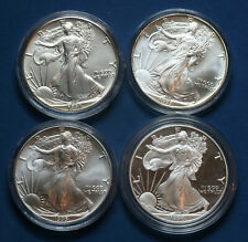 Uncirculated Silver Eagle Dollars 1991, 1993, 1995 & Proof 1998 Encapsulated
