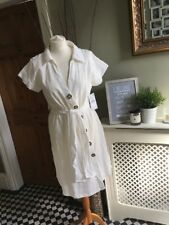 ZARA Off White Textured Weave Tunic Shirt Dress Small  BNWT