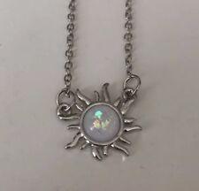 Silver Opal Sun Pendant Necklace