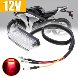 6 LED Motorcycle Rear Number License Plate Tail Light Red Lamp E-mark Clear Lens