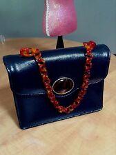 Vintage Arnold's Chicago navy tortoise leather Purse Handbag lucite chain GREAT!